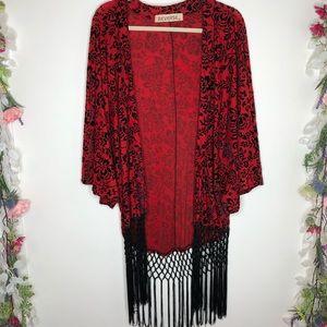 Reverse red kimono w/ black velvet floral, fringe